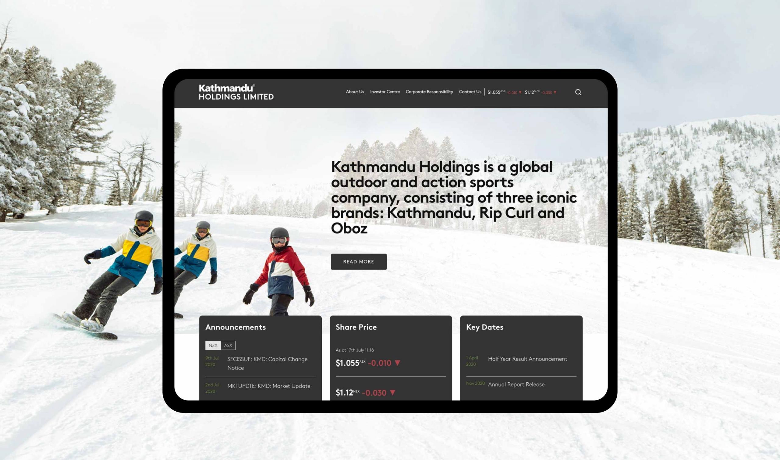 kathmandu website homepage design
